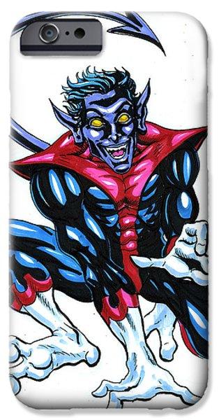 X-men iPhone Cases - Nightcrawler iPhone Case by John Ashton Golden