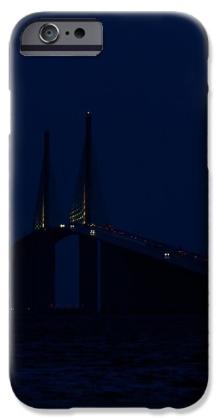 United iPhone Cases - Nightfall at the Sunshine Skyway iPhone Case by Ed Gleichman