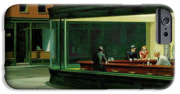 Tapestries Textiles iPhone Cases - Nighthawks iPhone Case by Edward Hopper