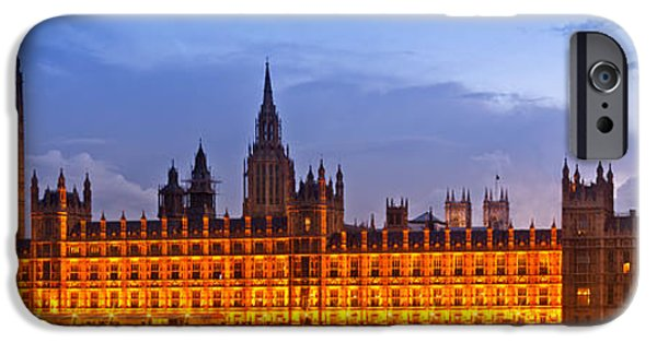House iPhone Cases - Nightly View LONDON Houses of Parliament iPhone Case by Melanie Viola