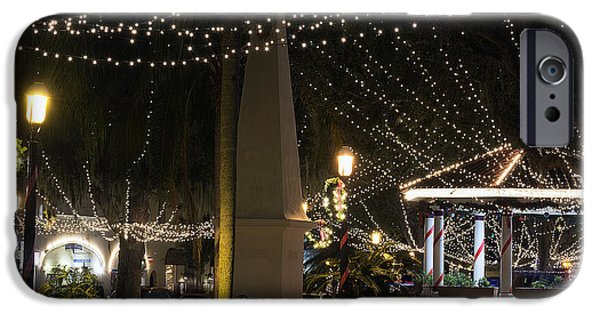 Christmas Holiday Scenery iPhone Cases - Nights of Lights Plaza iPhone Case by Kenneth Albin
