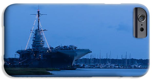 Yorktown iPhone Cases - Nighttime at Patriots Point iPhone Case by Dale Powell