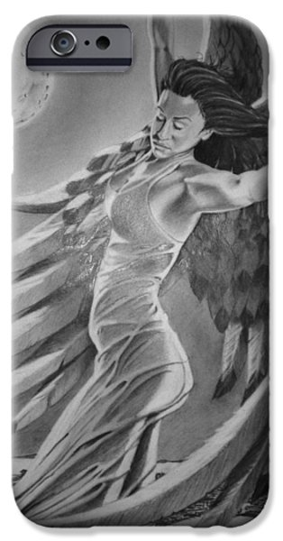 Night Angel Drawings iPhone Cases - Nightwish iPhone Case by Mark Shynk