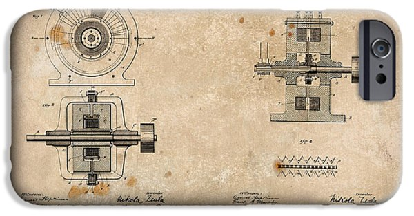 Electrical iPhone Cases - Nikola Teslas Alternating Current Generator Patent 1891 iPhone Case by Paulette B Wright