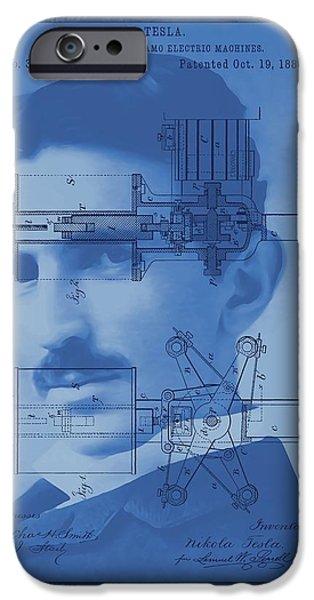 Dynamos iPhone Cases - Nikola Tesla iPhone Case by Dan Sproul