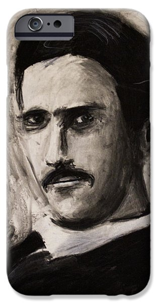 Electricity Drawings iPhone Cases - Nikola Tesla in coat charcoal drawing iPhone Case by Don Lee