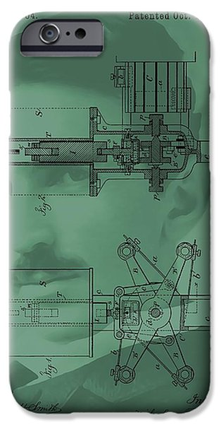Dynamos iPhone Cases - Nikola Tesla Patent iPhone Case by Dan Sproul