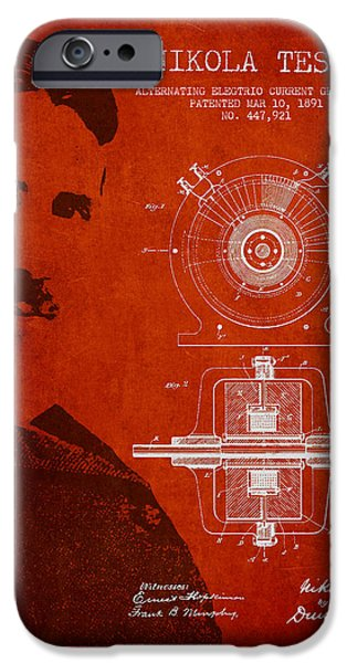 Electricity iPhone Cases - Nikola Tesla Patent from 1891 iPhone Case by Aged Pixel
