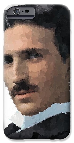 Electrical Paintings iPhone Cases - Nikola Tesla Portrait iPhone Case by Samuel Majcen