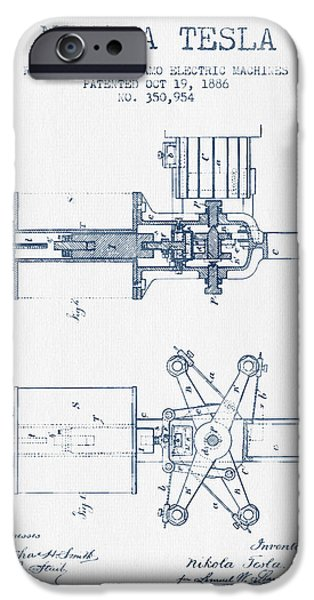Dynamos iPhone Cases - Nikola Tesla Regulator Patent Drawing From 1886- Blue Ink iPhone Case by Aged Pixel