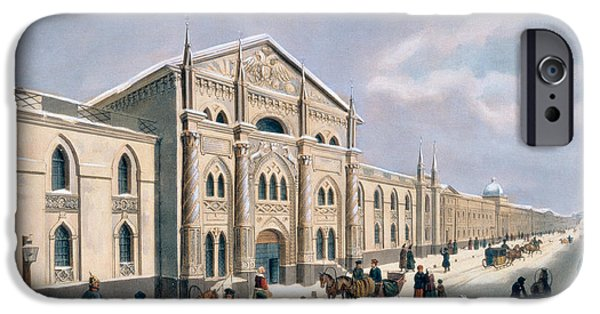 Moscow Paintings iPhone Cases - Nikolyskaya street in Moscow iPhone Case by Russian School