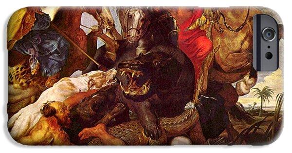 Hippopotamus Digital Art iPhone Cases - Nilpferdjagd iPhone Case by Peter Paul Rubens