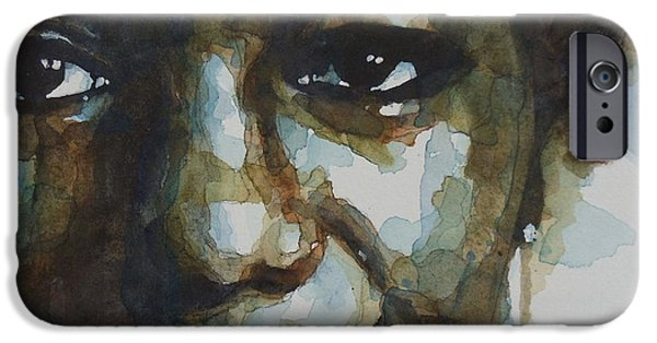 Watercolors Paintings iPhone Cases - Nina Simone iPhone Case by Paul Lovering