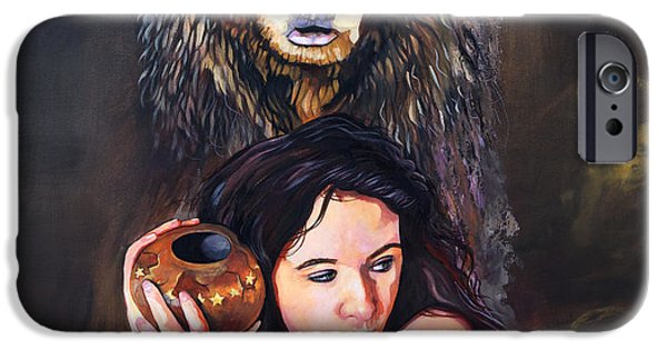 Medicine Paintings iPhone Cases - Nine Stars Woman - Bear Medicine iPhone Case by J W Baker