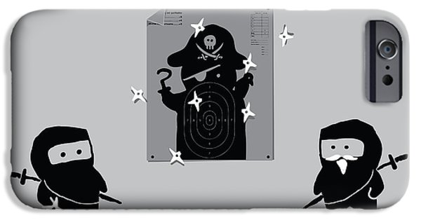 Cute Illustration iPhone Cases - Ninja Hates Pirate iPhone Case by Budi Satria Kwan