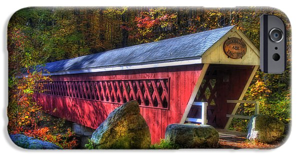 Fall Scenes iPhone Cases - Nissitissit Bridge Brookline NH iPhone Case by Joann Vitali