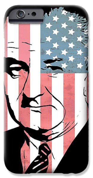 Red White And Blue Mixed Media iPhone Cases - Lyndon Johnson iPhone Case by Dan Sproul