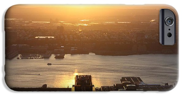 Empire State iPhone Cases - NJ Sunset From The Empire State Building iPhone Case by John Telfer