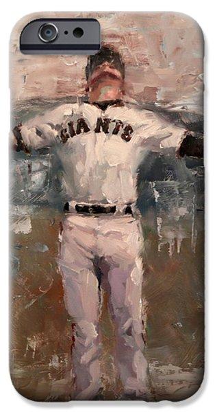 Baseball Art Paintings iPhone Cases - NLCS Rain iPhone Case by Darren Kerr