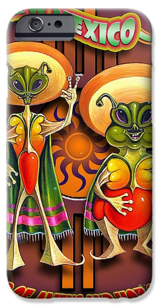 Ufo iPhone Cases - New Mexico Land of Aliens and Hot Chile iPhone Case by Ricardo Chavez-Mendez