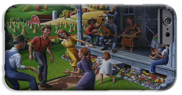 Invitations Paintings iPhone Cases - No 23 Join Us For A Hillbilly Hoedown Invitation Greeting Card iPhone Case by Walt Curlee