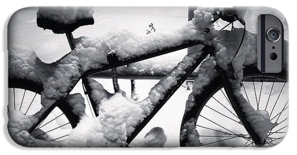 Snowy Night iPhone Cases - No Bike Ride Today iPhone Case by Mountain Dreams