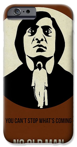Old Man Digital iPhone Cases - No Country for Old Man Poster iPhone Case by Naxart Studio