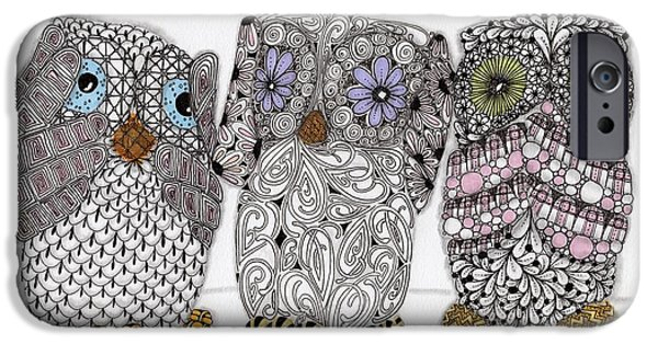 Pen And Ink Drawing Drawings iPhone Cases - No Evil Owls iPhone Case by Paula Dickerhoff