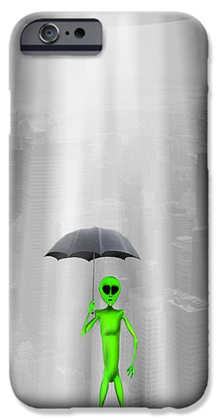 Umbrella iPhone Cases - No Intelligent Life Here iPhone Case by Mike McGlothlen