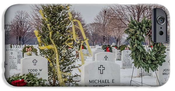 Snowy Day iPhone Cases - Yellow Ribbon Tree Cemetery iPhone Case by Patti Deters