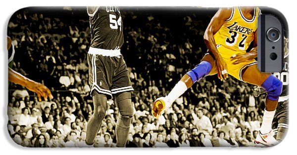 Magic Johnson iPhone Cases - No Look Pass 2 iPhone Case by Brian Reaves