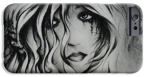 Torn Drawings iPhone Cases - No more tears iPhone Case by Rachel Christine Nowicki