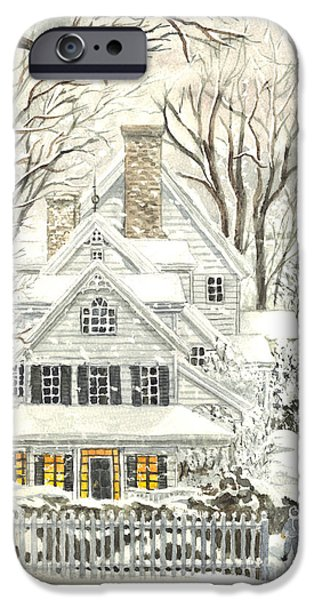 Winter Storm Drawings iPhone Cases - No Place Like Home For The Holidays iPhone Case by Carol Wisniewski
