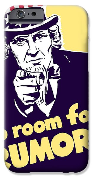 Uncle Sam iPhone Cases - No Room For Rumors Uncle Sam iPhone Case by War Is Hell Store