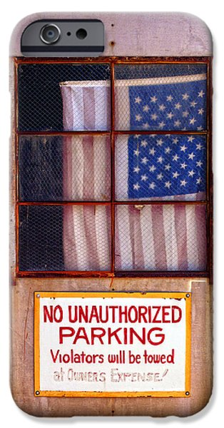 Old Glory iPhone Cases - No Unauthorized Parking iPhone Case by Ron Regalado