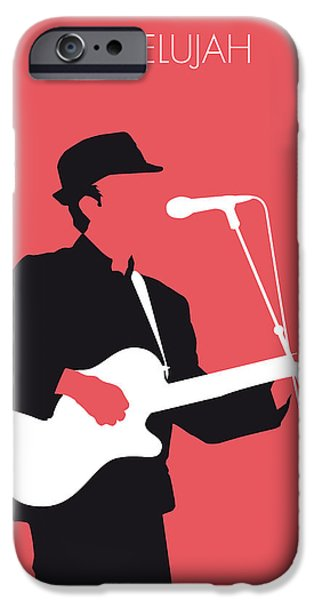 Minimalism iPhone Cases - No042 MY LEONARD COHEN Minimal Music iPhone Case by Chungkong Art
