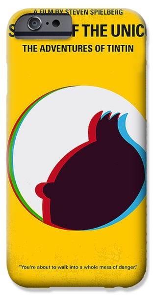Unicorn Art iPhone Cases - No096 My TINTIN-3D minimal movie poster iPhone Case by Chungkong Art