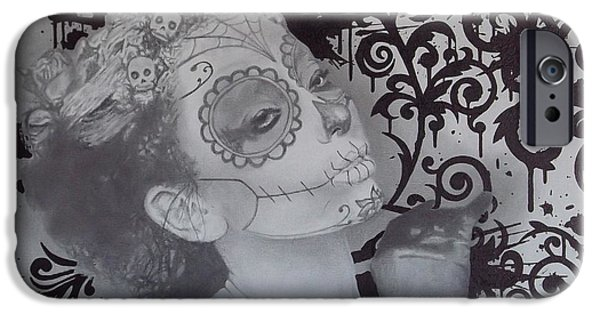 Mix Medium Drawings iPhone Cases - No.1 of 2 piece untitled dia de los muertos picture set iPhone Case by Asev One