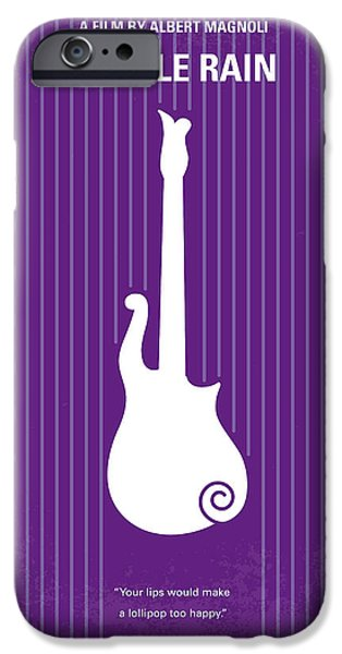 Purple Prints iPhone Cases - No124 My PURPLE RAIN minimal movie poster iPhone Case by Chungkong Art
