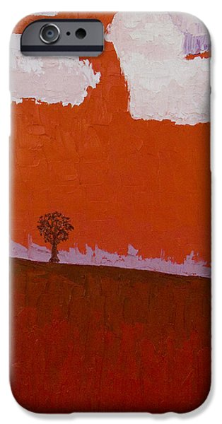 Field. Cloud Paintings iPhone Cases - No.2 Meeting Tree iPhone Case by Paul Anderson