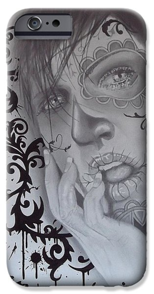 Mix Medium Drawings iPhone Cases - No.2 of untitled dia de los muertos 2 piece set iPhone Case by Asev One