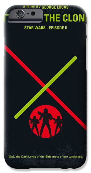 Falcon iPhone Cases - No224 My STAR WARS Episode II ATTACK OF THE CLONES minimal movie poster iPhone Case by Chungkong Art