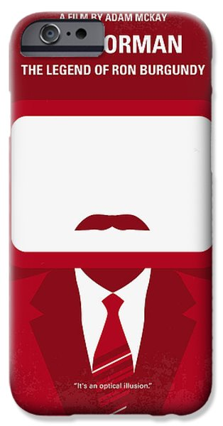 Graphic Design iPhone Cases - No278 My Anchorman Ron Burgundy minimal movie poster iPhone Case by Chungkong Art