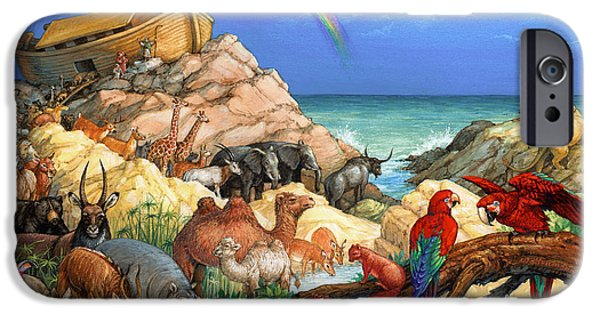 Noahs Ark Paintings iPhone Cases - Noah and the Ark iPhone Case by Randy Wollenmann