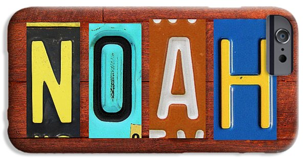 Noah iPhone Cases - NOAH License Plate Name Sign Fun Kid Room Decor. iPhone Case by Design Turnpike
