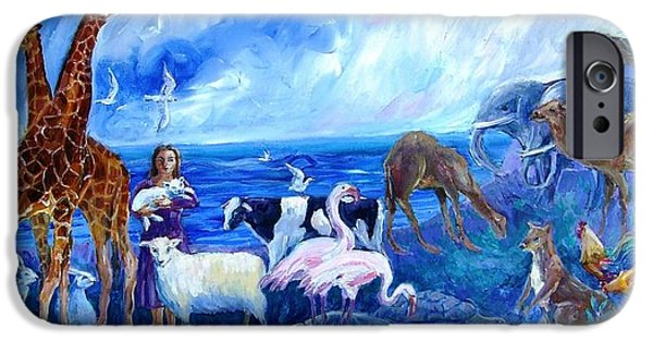 Noahs Ark Paintings iPhone Cases - Noahs Ark - After the Flood  iPhone Case by Trudi Doyle