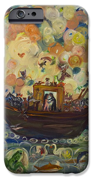 Noahs Ark Paintings iPhone Cases - Noahs Ark iPhone Case by Avonelle Kelsey