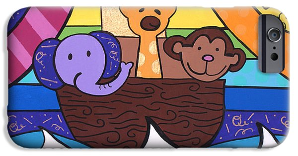 Noahs Ark Paintings iPhone Cases - Noahs Ark iPhone Case by Carly Khabinsky