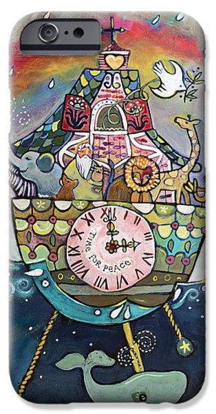 Noahs Ark Paintings iPhone Cases - Noahs Ark Cuckoo Clock Wall Art iPhone Case by Jen Norton
