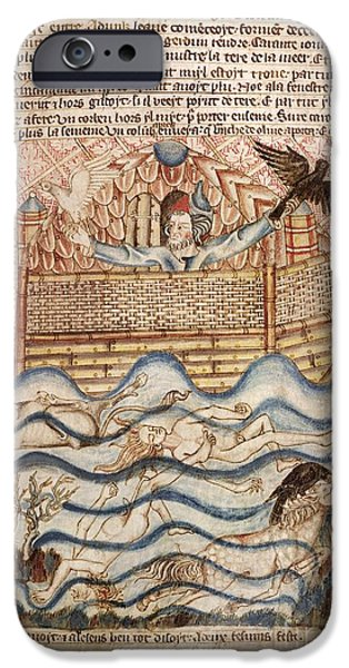 Noah iPhone Cases - Noahs Flood, 14th-century Manuscript iPhone Case by British Library